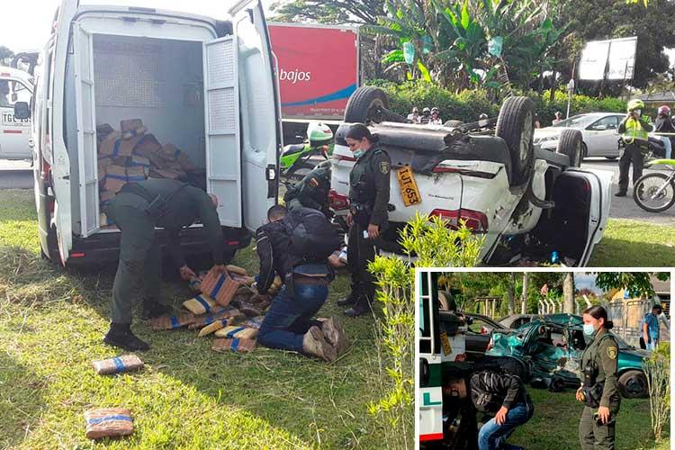 Cargados de marihuana se estrellaron cuando intentaban evadir a la policía en el sur del Quindío