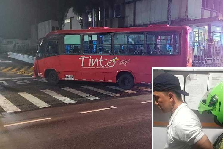 Conductor de bus frustró atraco al tirar el vehículo hacia la Octava Brigada en Armenia