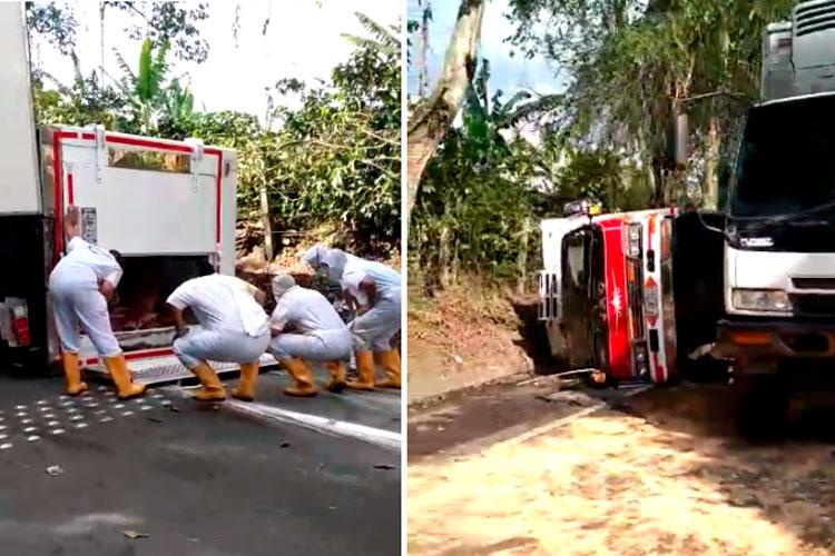 Se volcó camión cargado de presas de pollo en vía Montenegro - Armenia