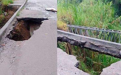 Se cae a pedazos el puente en Portal de Pinares en Armenia