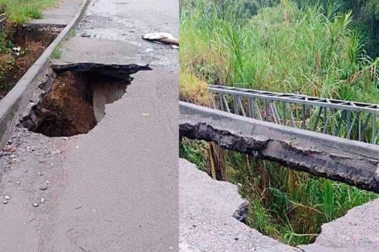 Se está cayendo puente del Bosques de Pinares en Armenia