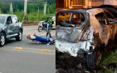 Se estrelló motociclista contra vehículo en vía Armenia – La Tebaida y se quemó carro en La Patria