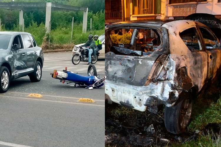 estrelló motociclista y se quemó carro en La Patria