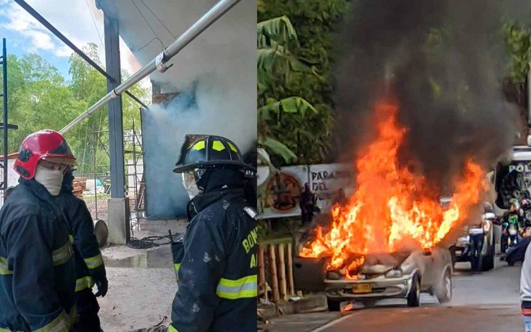 Incendios: una bodega en Armenia y un carro vía Quimbaya- Montenegro, emergencias de este martes