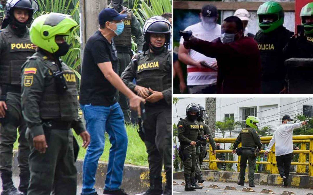 10 policías en investigación por permitir a civiles disparar contra manifestantes