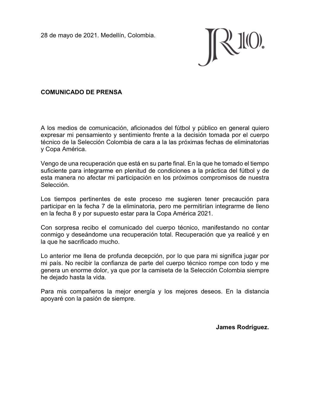Comunicado de prensa James Rodriguez