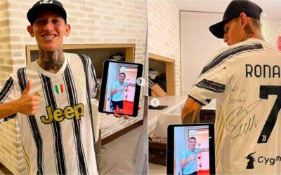 Cristiano Ronaldo le envió regalo al quindiano 'La Liendra', que no lo podía creer