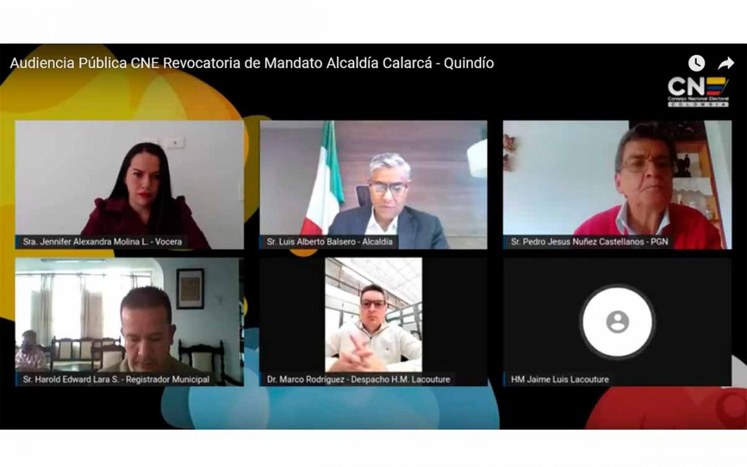 audiencia de revocatoria alcalde de Calarcá