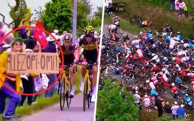 Policía francesa busca a aficionada que causó terrible caída en el Tour de Francia