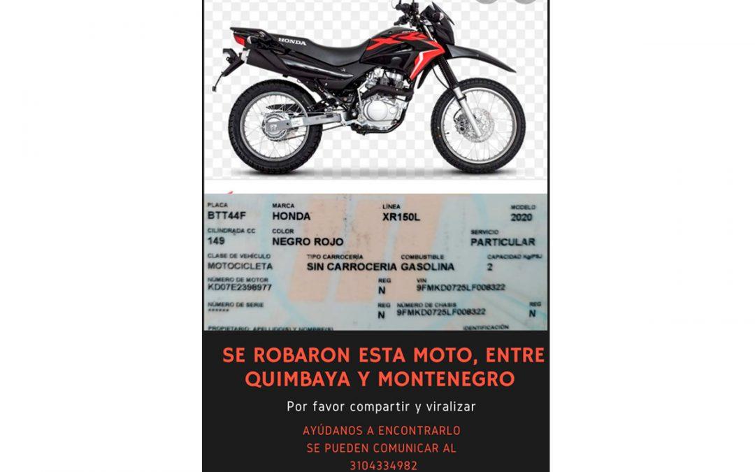 Robaron moto a mano armada y a plena luz del día en Quimbaya