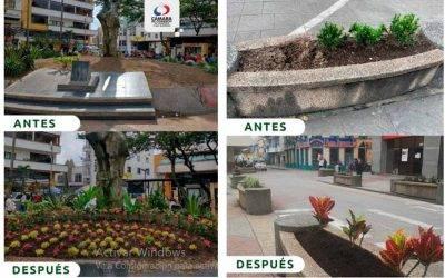 Cámara de Comercio trabaja en el embellecimiento de jardines en el Quindío