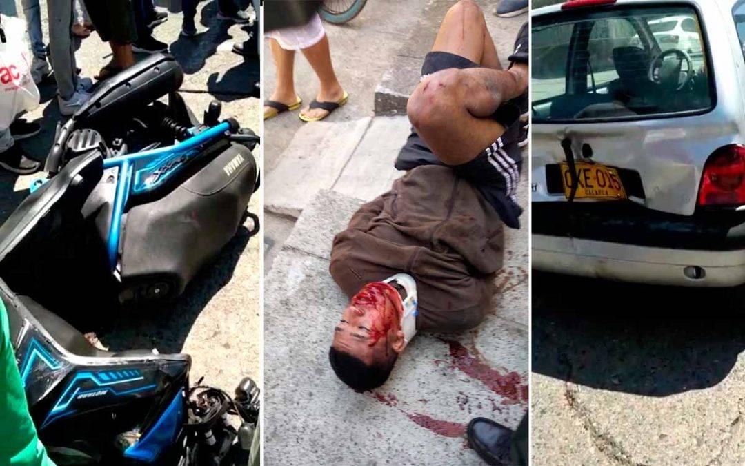 Video: Ladrón en Quimbaya estrelló moto robada y fue capturado por la policía