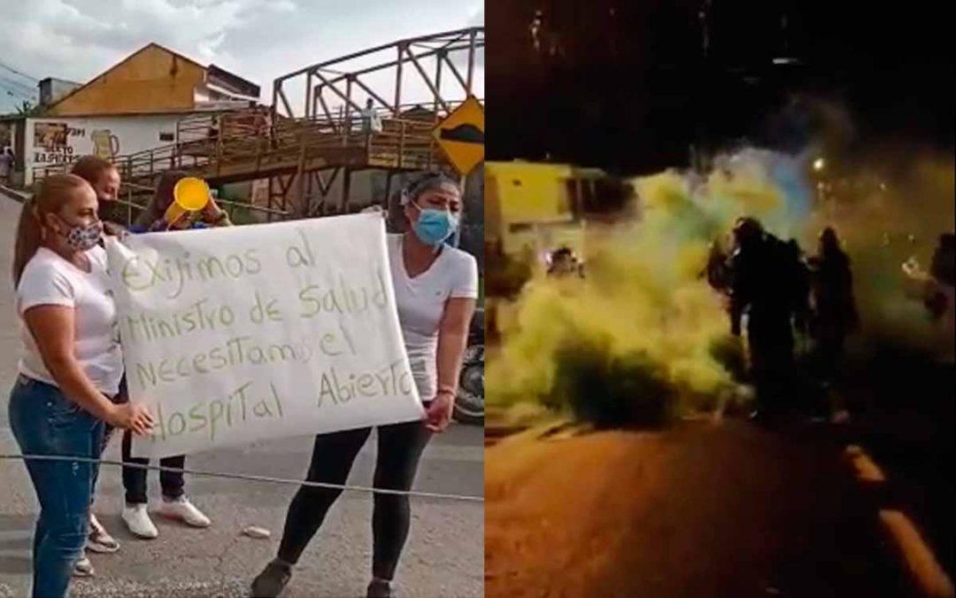 Policía atacó a mujeres que protestaban por el cierre del hospital La Misericordia de Calarcá
